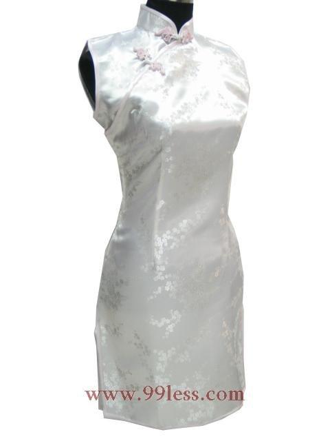 Cute Mini Chinese Dress White 9QIP-0178