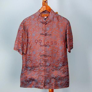 Men's Chinese Traditional Silk Shirt Coffee