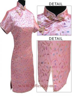 Satin Floral Print Chinese Mini Dress/Chinese Gown/Oriental Style Dress/Cheongsam-Pink