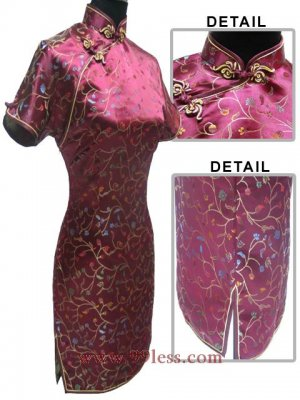 Satin Floral Print Chinese Mini Dress/Chinese Gown/Oriental Style Dress/Cheongsam