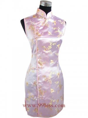 Satin Butterfly Pattern Chinese Mini Dress/Chinese Gown/Oriental Style Dress/Cheongsam-Golden