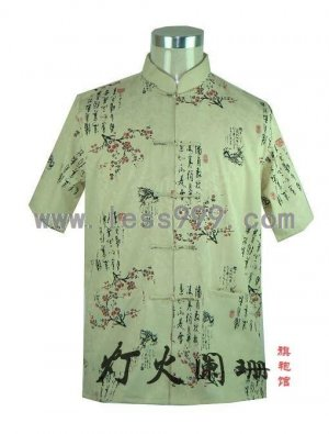 Cotton Calligraphy Plum Short Sleeve Shirt/Men Kung-Fu Shirt