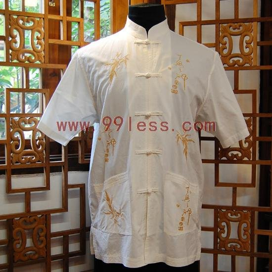 Men's Chinese Shirt Patterned with Bamboo