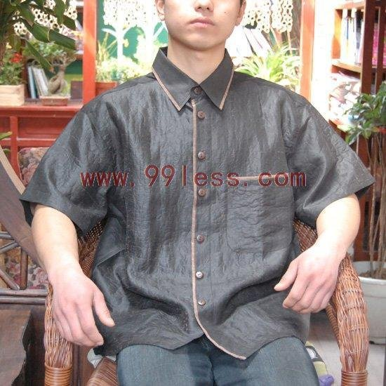 Men's Chinese Silk Shirt Gray