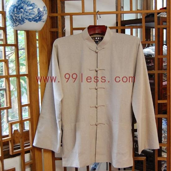 Men's Simple Chinese Shirt Beige