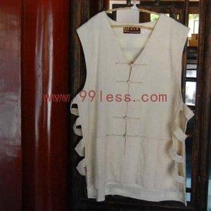 Men's Sleeveless Beige Chinese Shirt
