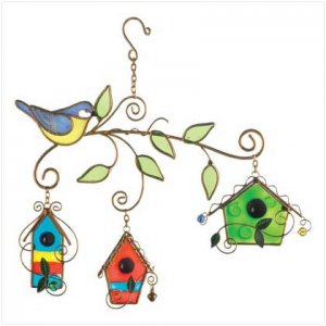 STAINED GLASS BIRD HOUSE SUNCATCHERS