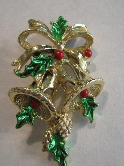 Delicate Christmas enamel open work Bells Holly Pin Brooch