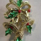 Delicate Christmas enamel open work Bells Holly Pin Brooch