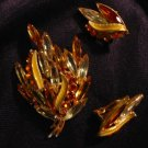 Amber Art glass Rhinestone brooch / pin & Clip Earring Set