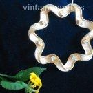 Rhinestone and Ribbon~ Scalloped Wreath Sarah Coventry Pin Brooch