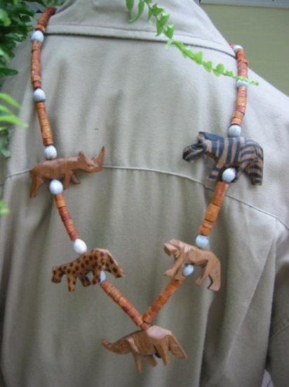 Hand painted ~ Safari Animal hand carved Wood Bead Necklace
