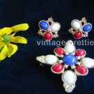 "Red White Blue ~ Patriotic ""Americana"" demi parure Brooch Clip Earrings"