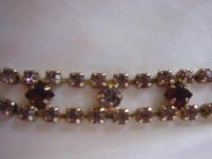 Square faux amethyst ~ lilac rhinestone estate bracelet