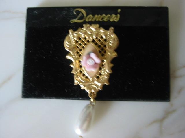 Prettiest ~ Pink Porcelain Rose Filigree Brooch Pin pearl drop