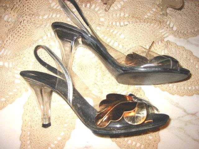 Vintage ladies pumps LUCITE heels Peek toe Clear Vamp shoes 6