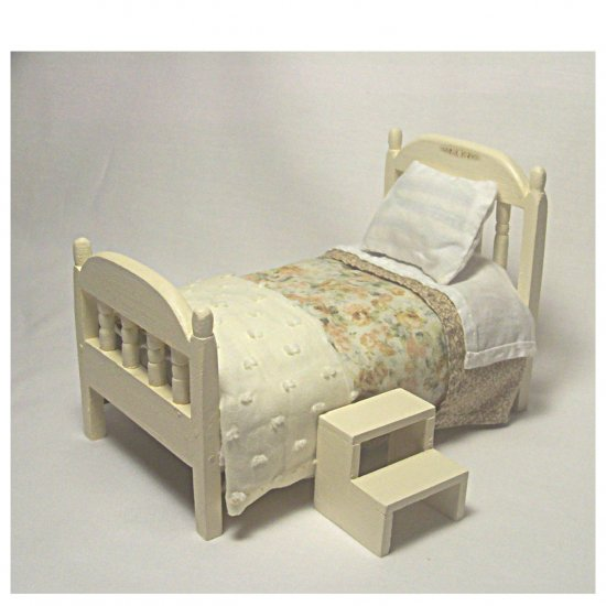 Single Spindle Bed With Bed Springs--Tan Spread