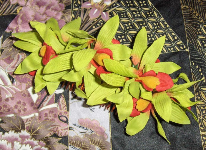 Lime green orchid hair comb large Rockabilly