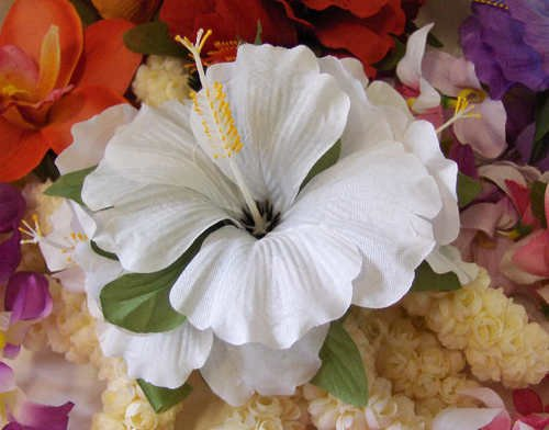 White Hibiscus Hawaiian Wedding hair clip VLV
