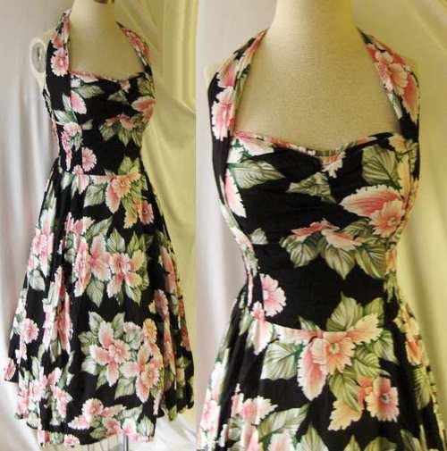 Pink Orchids Rockabilly halter dress Rayon VLV New, Large !