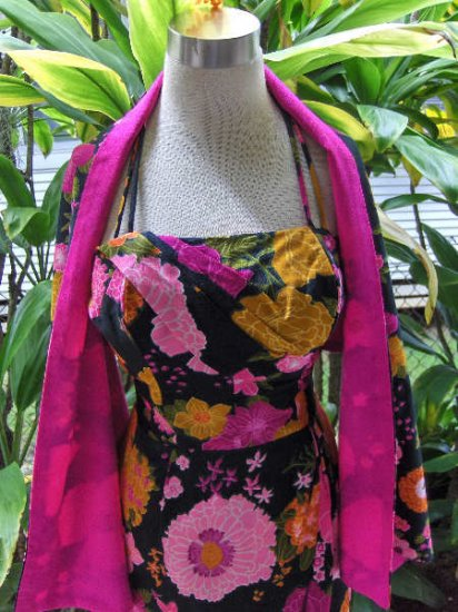 70's Vintage Hawaiian dress shawl wrap Paradise Hawaii MOD
