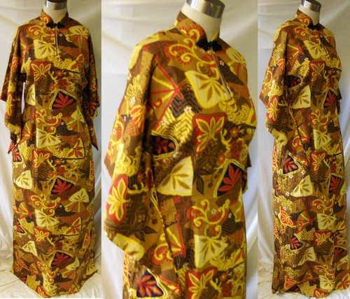 Vintage 50s Hawaiian pake muu mu dress Tiki Luau Large