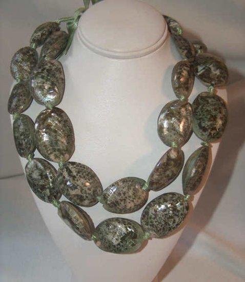 Hawaiian shell lei necklace beaded NEW hula green clam