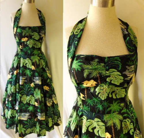 VLV VINTAGE STYLE 50s HAWAIIAN HALTER DRESS RETRO