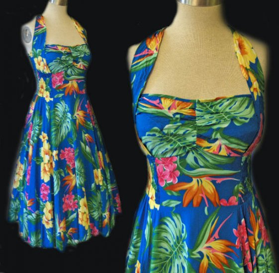Colorful Hawaiian halter dress vintage 50s style retro Ocean cruise blue