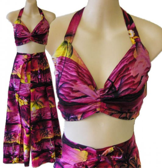 Tropical pantset Hawaiian halter top set