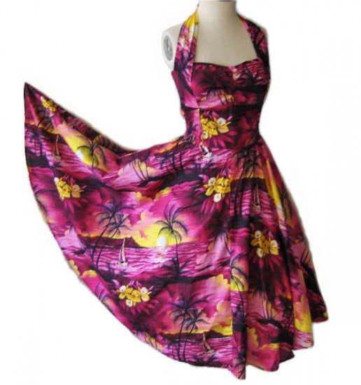 Vintage style 50s Hawaiian halter dress ROCKABILLY L