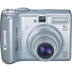 Canon Powershot A560 Digital Camera, 7.1 Megapixels, 4x Optical Zoom, 4x Digital Zoom, (ecf)