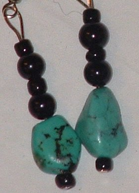 Turquoise beaded earrings, black glass beads