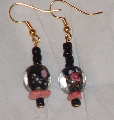 Pretty black flower and glass beaded earrings