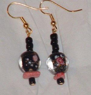 Pretty black flower and glass beaded earrings