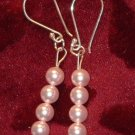Streling siver beaded earrings swarovski crystal pearl