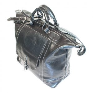 Floto Tack Duffle bag in Black leather *SKU 16Black