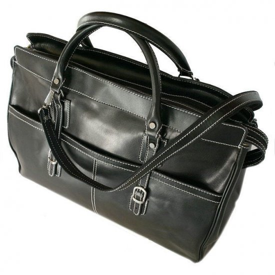 Floto Casiana Tote bag in Black leather SKU 56Black
