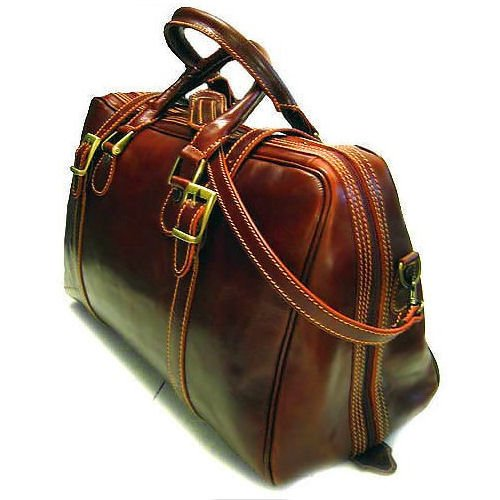 Floto Trastevere Duffle bag in Vecchio Brown leather SKU 20Brown