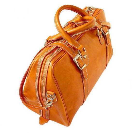 Floto Trastevere Duffle bag in Orange leather SKU 20Orange