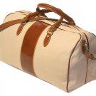 Floto Venezia Duffle in Linen Canvas with Vecchio Brown leather SKU 18C
