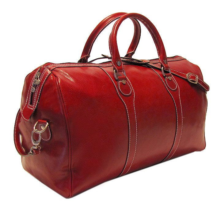 Floto Milano duffle bag in Tuscan Red leather SKU 40Red