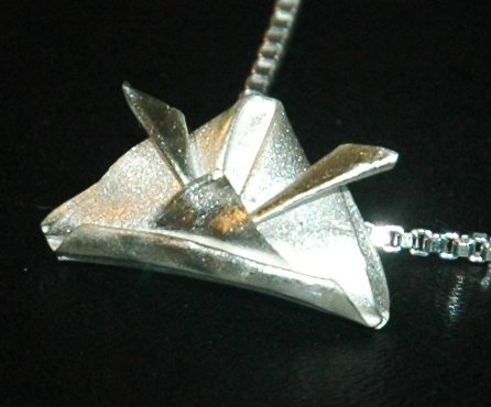 Handcrafted Silver Origami Japanese Samurai Helmet on a Venetian Box style necklace