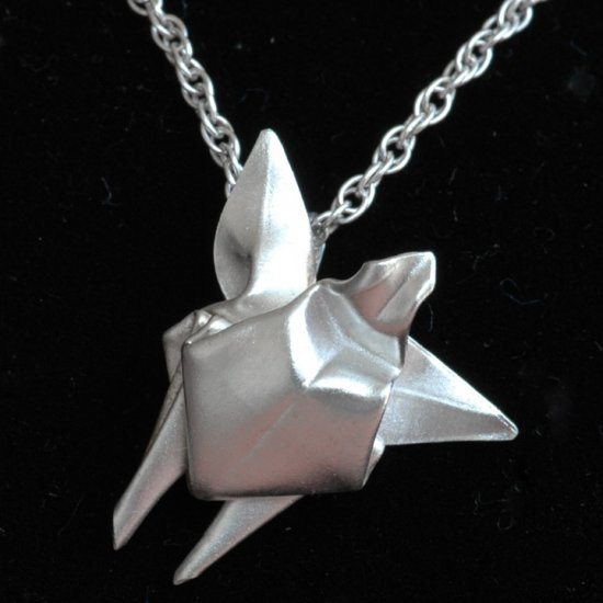 Fine Silver Origami Sea Turtle (Honu) Pendant - Metalgami Sculpture on a Reverse Double Rope