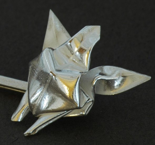 Origami Honu Sea Turtle Bobby Pin (Silver Origami Metalgami Hair Pin)
