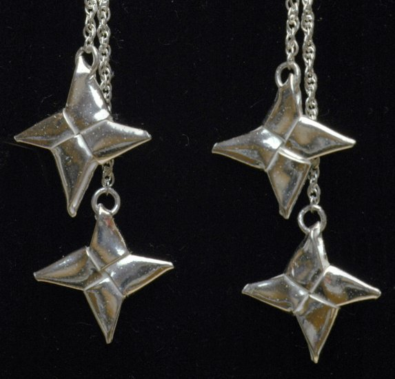 Double Ninja Throwing Star (Shuriken) - Silver Origami Drop Earrings - Metalgami