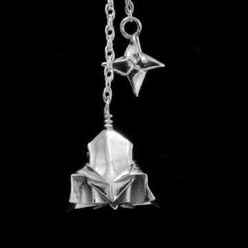 Fine Silver Rocketship pendant on a Sterling Silver Origami Necklace