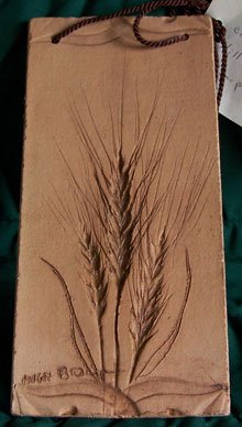 Clay Tile Wheat Plaque Artisan Signed Wall Decor