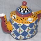 Ganz Bella Casa Teapot Bank Red Yellow Blue Tea Pot