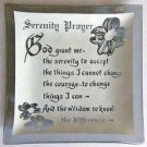 Vintage Serenity Prayer Smoke Glass Tray for Pins, Change, Dresser Tray, Ash Tray